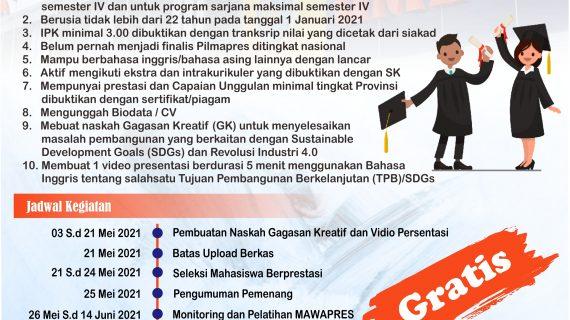 PEMILIHAN MAHASISWA BERPRESTASI (PILMAPRES) 2021